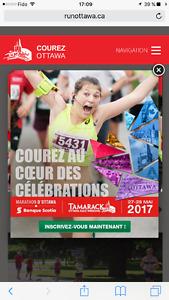 Dossard pour demi marathon (half marathon) ottawa 2017