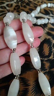 Vintage Semi Precious Stone Necklace Boho chic cream clear white estate jewelry ()
