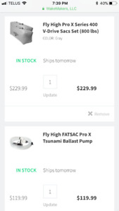 Fly high fat sacs and tsunami pump (wake surf, wake board)