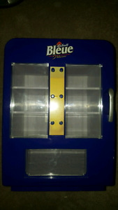 Labatt Bleaue refrigerated can dispenser & Sleeman coasters