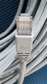25m inLine CAT.5e network patch ethernet LAN cable, SFTP 300, grey