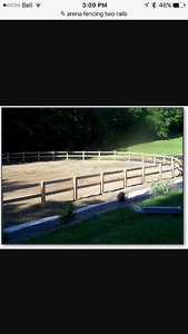 Someone to put a fence up around outdoor riding arena