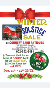 WINTER SOLSTICE SALE at Country Barn Antiques in Port Williams!