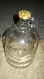 "ANTIQUE VERY OLD ""80 FLOW OZ'S CLEAR GLASS MOONSHINE JUG"" 1839"