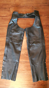 Men's Black Leather Braided Motorcycle Chaps