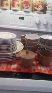 Vintage brown and white dish set