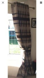 Ring top brown stripe curtains 90 x 90 blackout