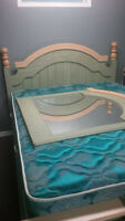 Rustic style bed with matching dresser/vanity and two end tables