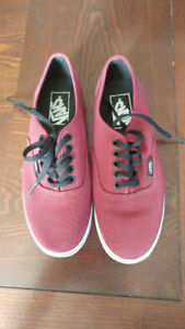 Vans off the wall burgundy shoes