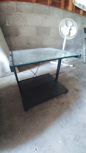Glass TV table and wooden side table/lamps