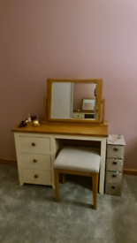 Dressing table, large mirror and stool