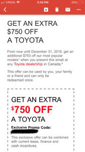 1/2 price sold for the $750 value coupon for A Toyota vehical