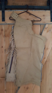 Fringed beige leather chaps