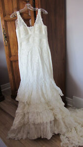 Wedding Dress Cream Colour with Beaded Lace