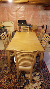 Wood dining table with 6 chairs