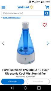 BNIB Pure Guardian 10 hour Ultrsonic Humidifier