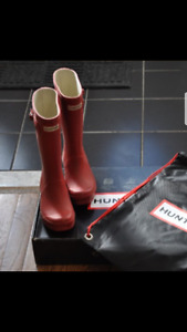red Hunter boots - size 2