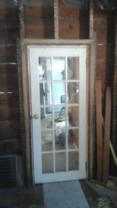 Victorian french door 15 lite original glass w pine frame trim