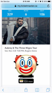 3 tickets to drake and migos concert