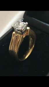18KT- Platinum Yellow Gold with 1.47ct.Diamond Engagement Ring.