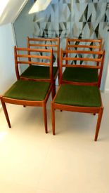 G Plan ladder-back dining chairs (x4)