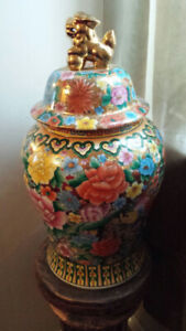 DRAGON LID FLORAL PAINTED VASE-signed GARDEN CHINA