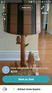 Hand carved solid wood lamp hunter /owls