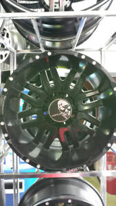 """20"""" HOSTILE ZOMBIE WHEELS BLACK 35"""" GINELL MUDS! FORD F250 F350!"""