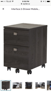 Two drawer cabinet on wheels