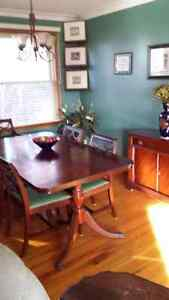 Solid Wood Antique Set w 6 chairs and 2 side cabinets