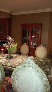 Granite Dining room set with Buffet and 8 chairs