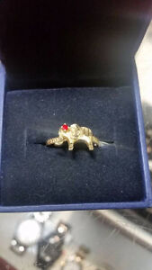 10K Gold Ring Elephant $100