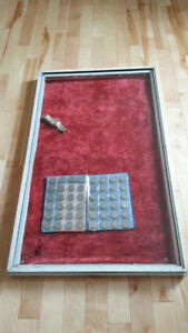 "VINTAGE GLASS TOP DISPLAY CASE 18 1/2"" X 31"" VELVET INTERIOR"