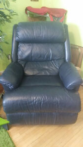 Marine Blue Leather Rocking La-Z-Boy Recliner Paid $1899