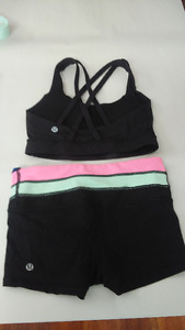 Lululemon sports bra and shorts size 2
