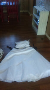 Size 16 white satin A-line wedding gown