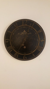 Wall mount clock dark brown