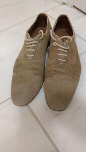 Zara light brown pseudo-suede brogue summer shoes
