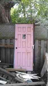 Solid core victorian door with frame and small window antique