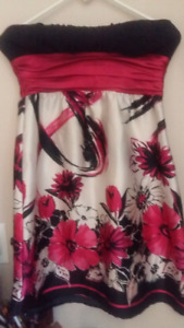 Pink and black floral party dress