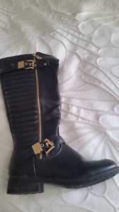 Black and gold  pleather boots size 7