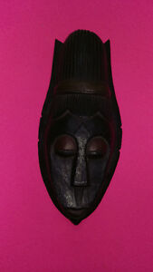 Beehive Hair Long Faced Wooden Mask