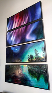 "100""x62"" 4 panel northern lights oil painting"