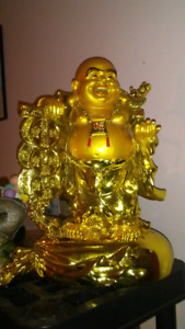 Large gold painted Buddha statue heavy