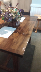 Walnut Finish Dining Table with Ceramic Inserts