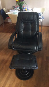 Excellent condition reclining chair +footstool and black couch