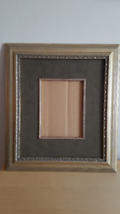 Antique Gold Wood picture frame with leather mount