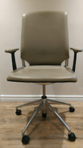 Beige leather adjustable office chair