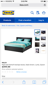 Malm Queen Bed/4 Storage Drawers