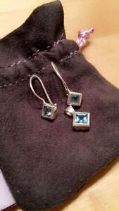 STERLING SILVER EARRINGS AND PENDANT WITH BLUE TOPAZ